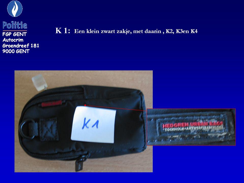 K 1: Een klein zwart zakje, met daarin , K2, K3en K4