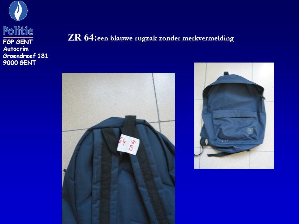 ZR 64:een blauwe rugzak zonder merkvermelding