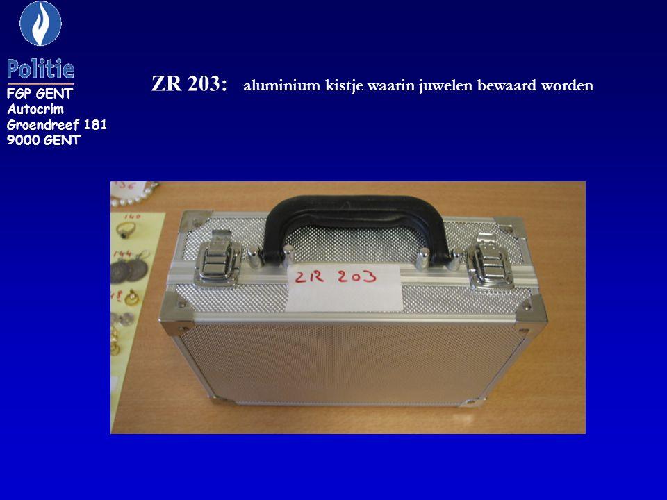 ZR 203: aluminium kistje waarin juwelen bewaard worden