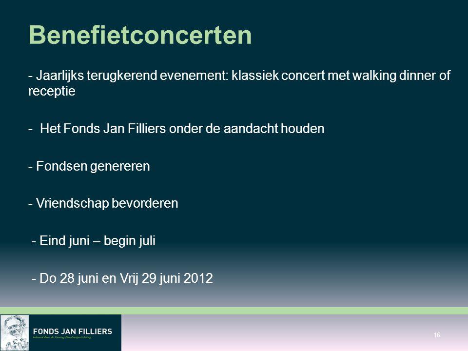 Benefietconcerten - Jaarlijks terugkerend evenement: klassiek concert met walking dinner of receptie.