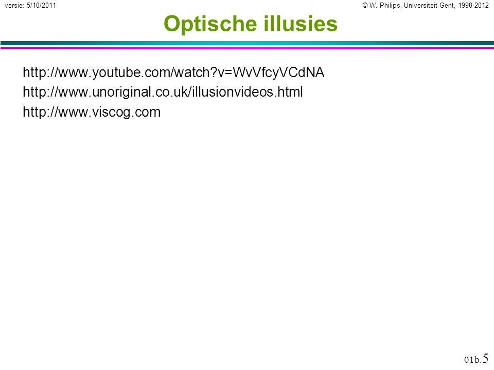 Optische illusies http://www.youtube.com/watch v=WvVfcyVCdNA