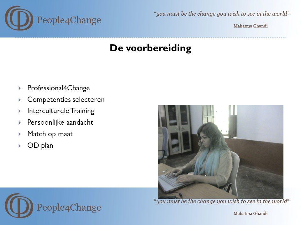 De voorbereiding Professional4Change Competenties selecteren
