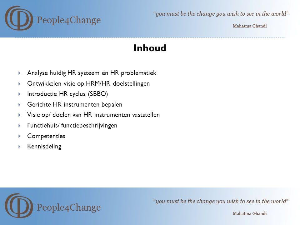 Inhoud Analyse huidig HR systeem en HR problematiek