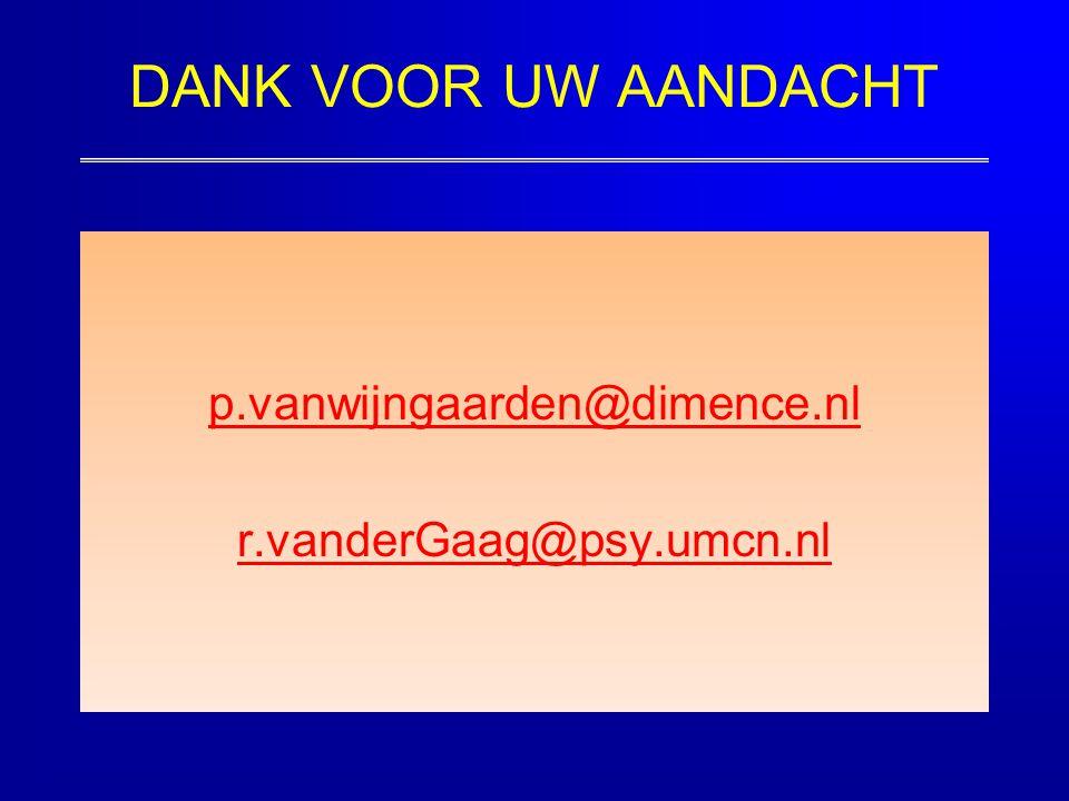 DANK VOOR UW AANDACHT p.vanwijngaarden@dimence.nl