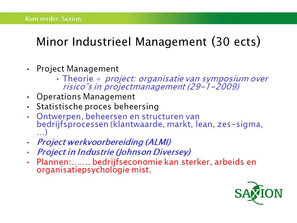 Minor Industrieel Management (30 ects)