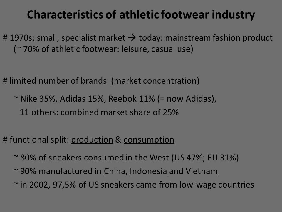 Characteristics of athletic footwear industry