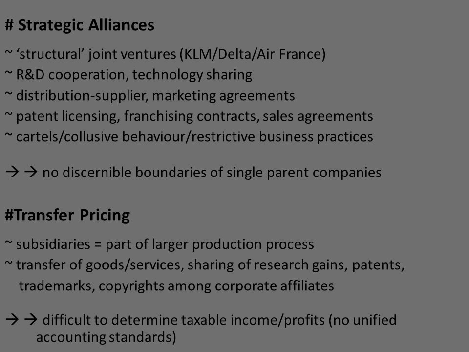 # Strategic Alliances #Transfer Pricing