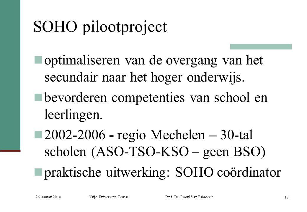 SOHO pilootproject optimaliseren van de overgang van het secundair naar het hoger onderwijs. bevorderen competenties van school en leerlingen.