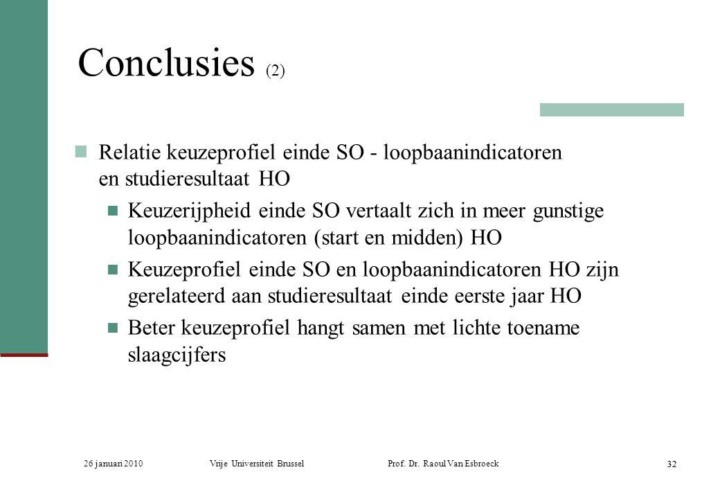 Conclusies (2) Relatie keuzeprofiel einde SO - loopbaanindicatoren en studieresultaat HO.