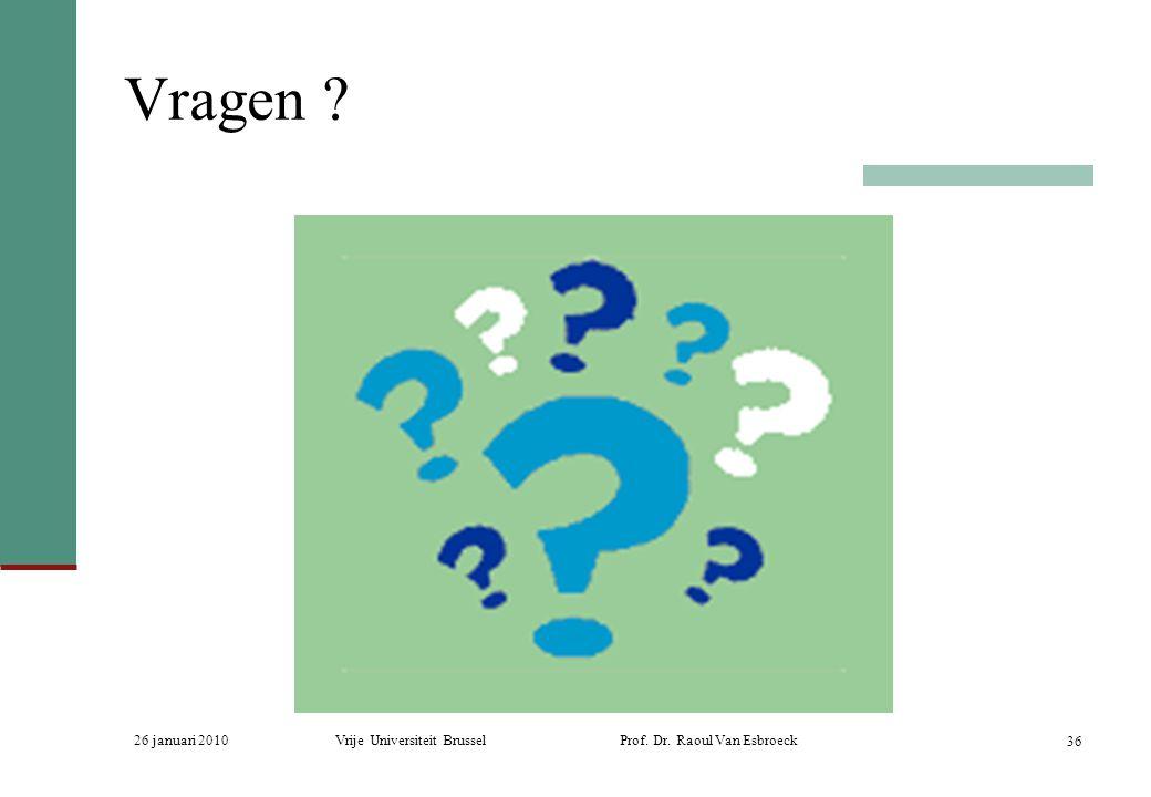 Vragen . 26 januari 2010. Vrije Universiteit Brussel Prof.