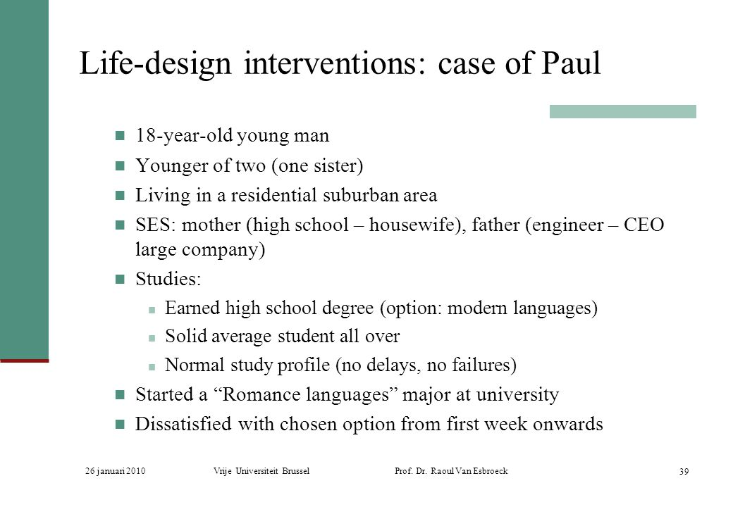 Life-design interventions: case of Paul