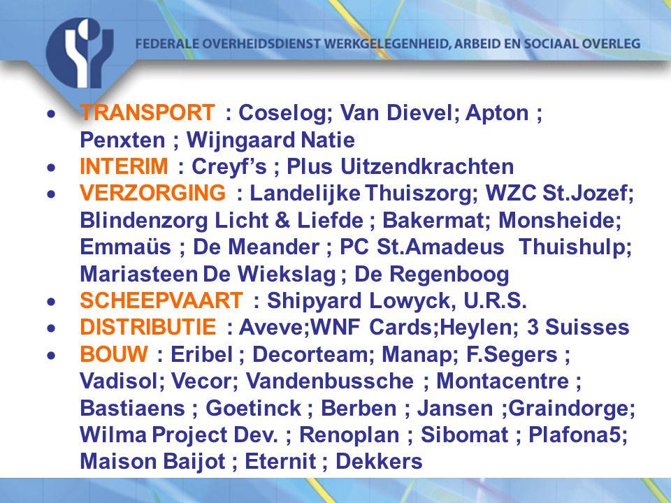· TRANSPORT : Coselog; Van Dievel; Apton ; Penxten ; Wijngaard Natie