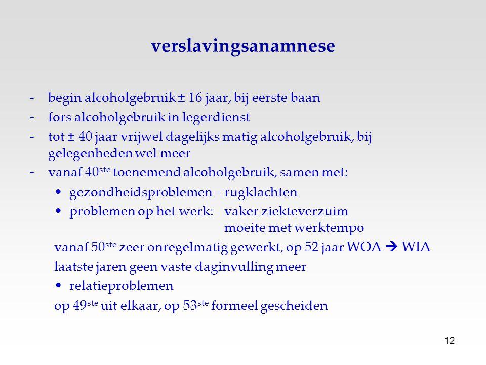 verslavingsanamnese begin alcoholgebruik ± 16 jaar, bij eerste baan