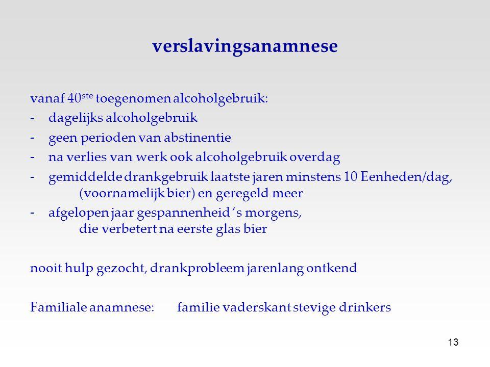 verslavingsanamnese vanaf 40ste toegenomen alcoholgebruik:
