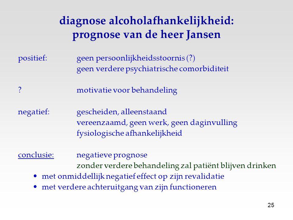 diagnose alcoholafhankelijkheid: prognose van de heer Jansen
