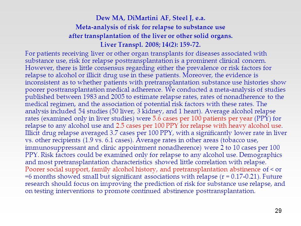 Dew MA, DiMartini AF, Steel J, e.a.