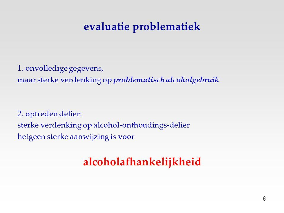 evaluatie problematiek