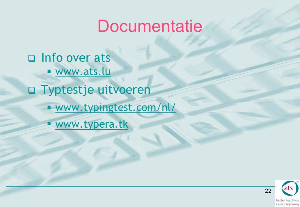 Documentatie Info over ats Typtestje uitvoeren www.ats.lu