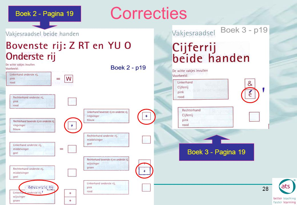 Correcties Boek 2 - Pagina 19 Boek 3 - Pagina 19