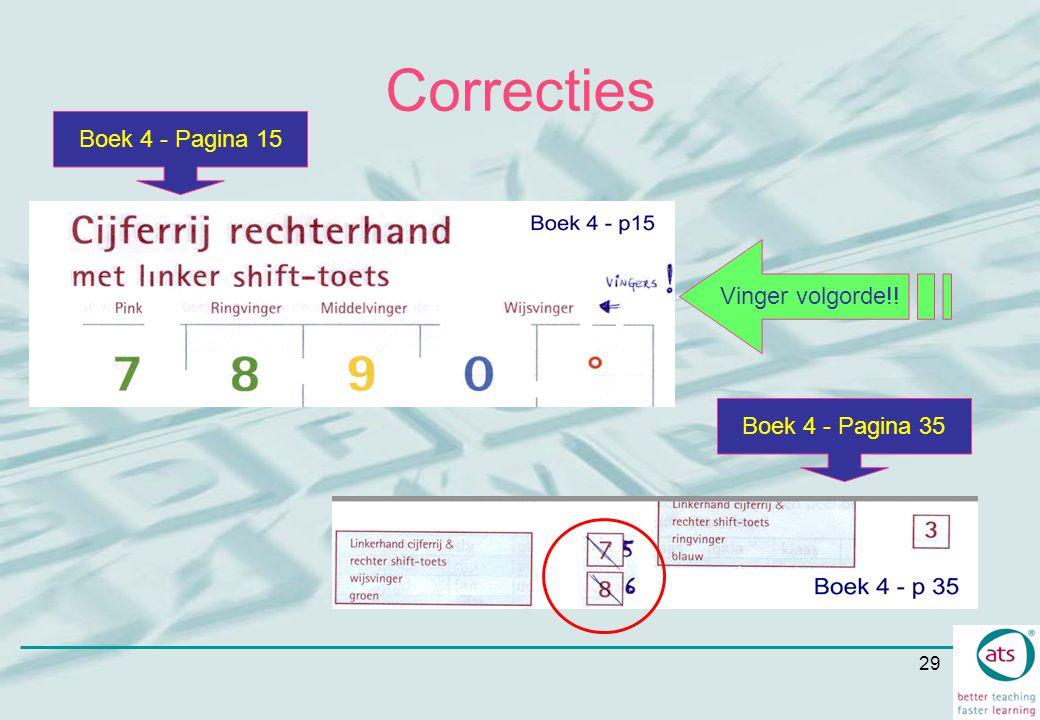 Correcties Boek 4 - Pagina 15 Vinger volgorde!! Boek 4 - Pagina 35