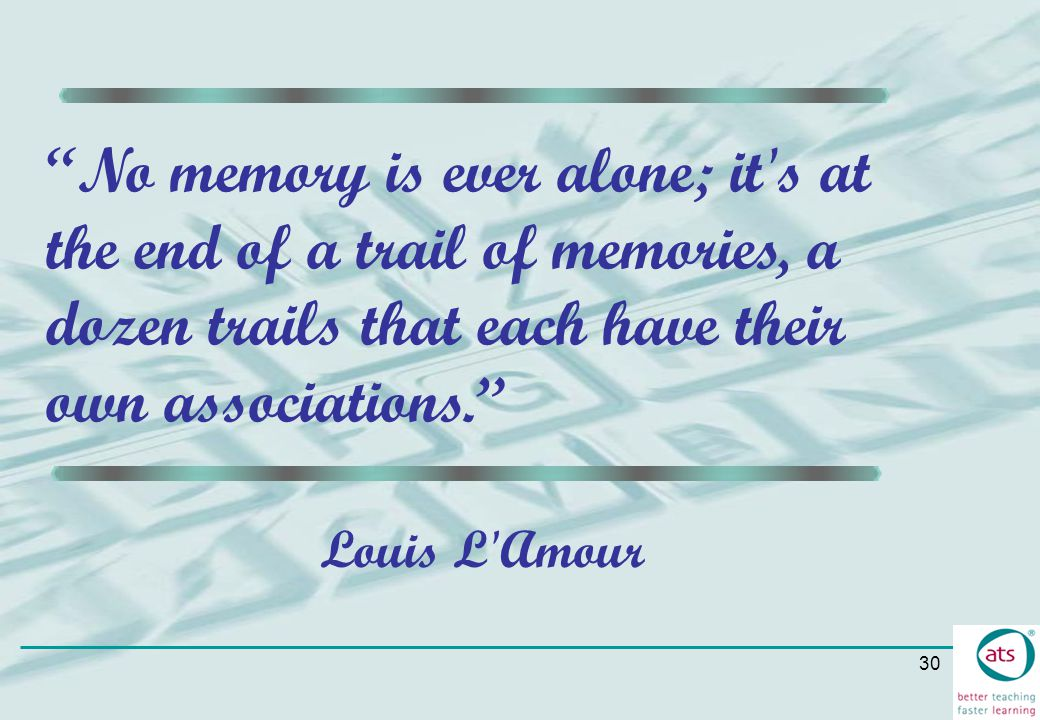 No memory is ever alone; it s at the end of a trail of memories, a dozen trails that each have their own associations.
