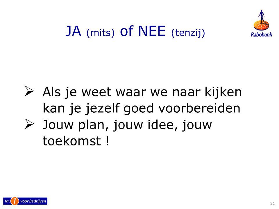 JA (mits) of NEE (tenzij)