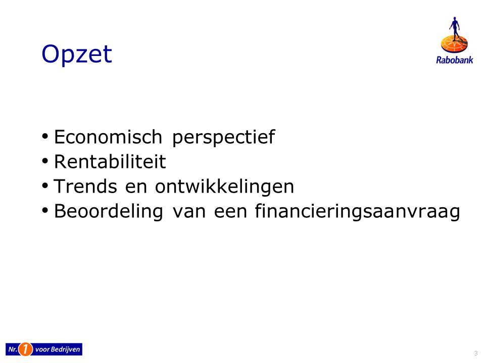Opzet Economisch perspectief Rentabiliteit Trends en ontwikkelingen