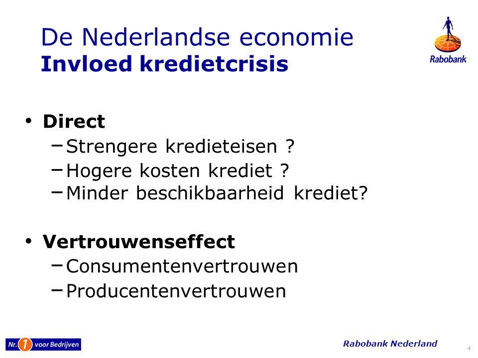 De Nederlandse economie Invloed kredietcrisis