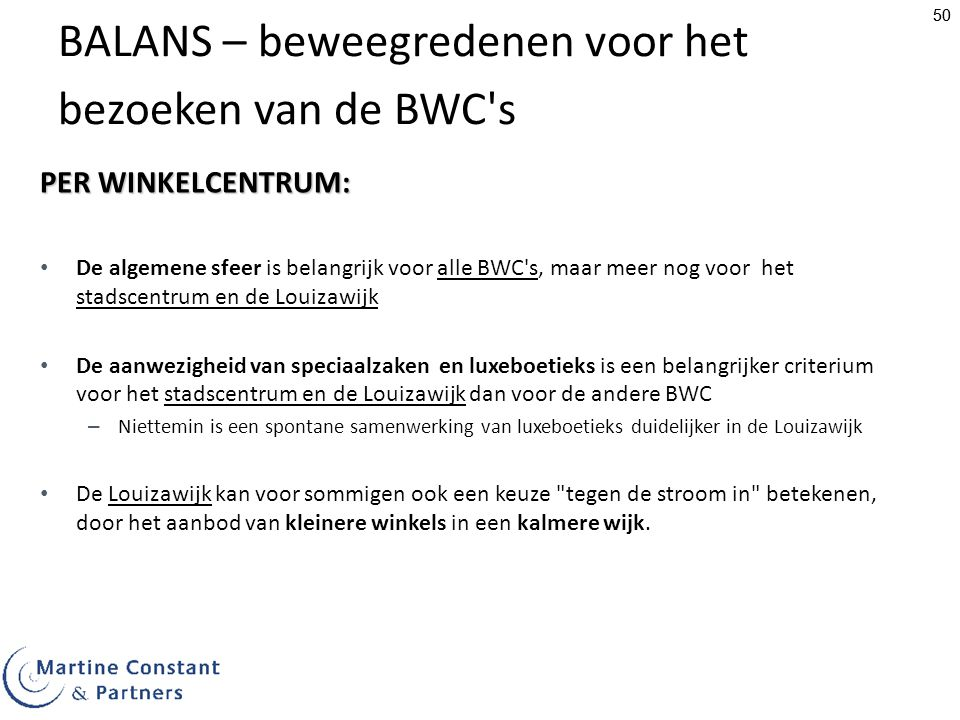 BALANS – beweegredenen voor het bezoeken van de BWC s