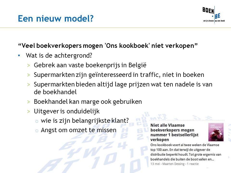 Een nieuw model Veel boekverkopers mogen Ons kookboek niet verkopen Wat is de achtergrond Gebrek aan vaste boekenprijs in België.