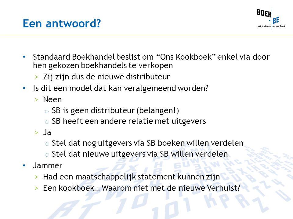 Een antwoord Standaard Boekhandel beslist om Ons Kookboek enkel via door hen gekozen boekhandels te verkopen.