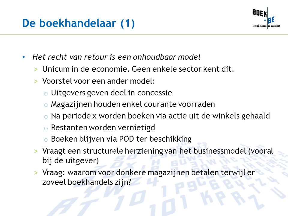 De boekhandelaar (1) Het recht van retour is een onhoudbaar model