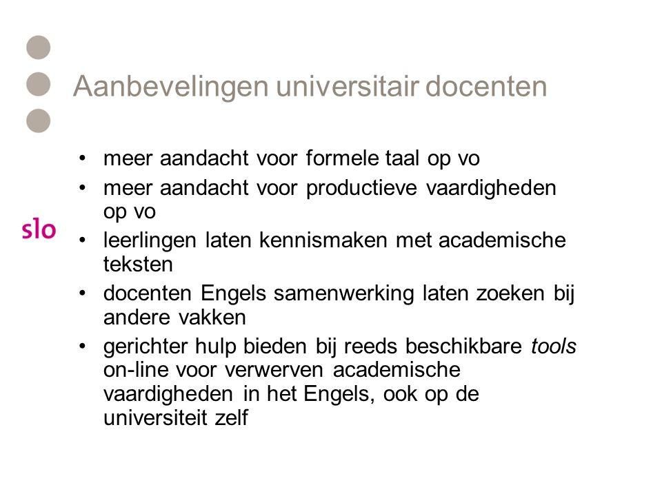 Aanbevelingen universitair docenten