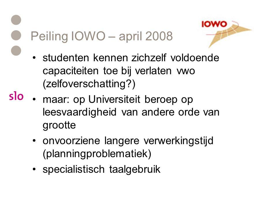 Peiling IOWO – april 2008 studenten kennen zichzelf voldoende capaciteiten toe bij verlaten vwo (zelfoverschatting )