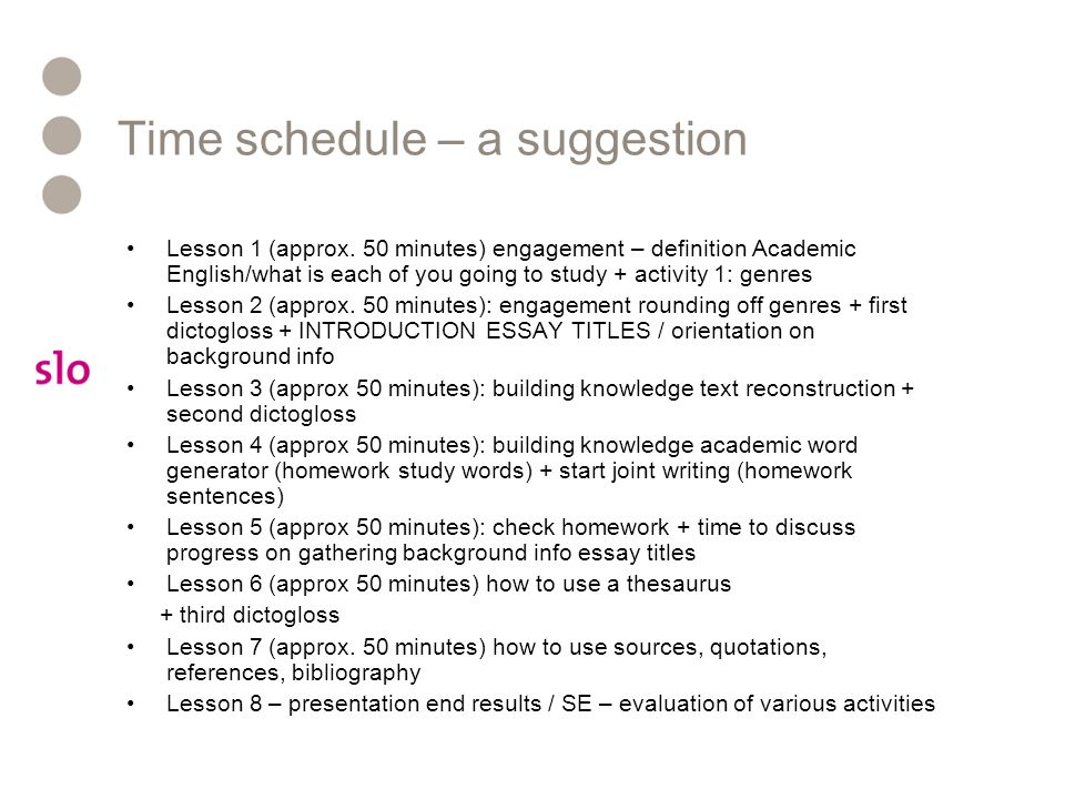 Time schedule – a suggestion