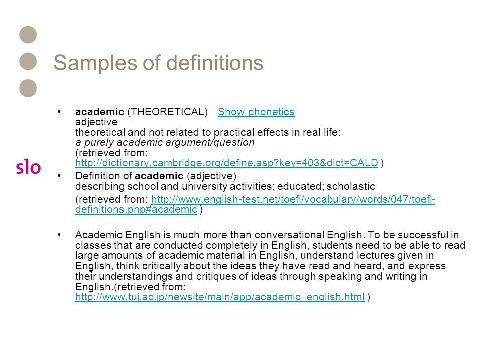 Samples of definitions