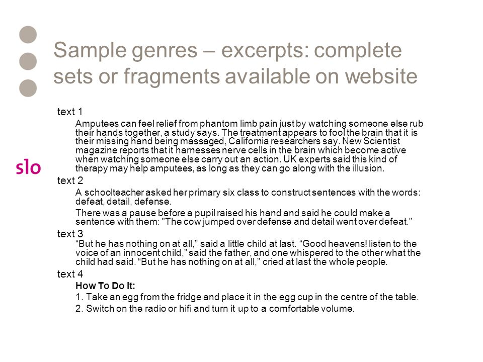 Sample genres – excerpts: complete sets or fragments available on website