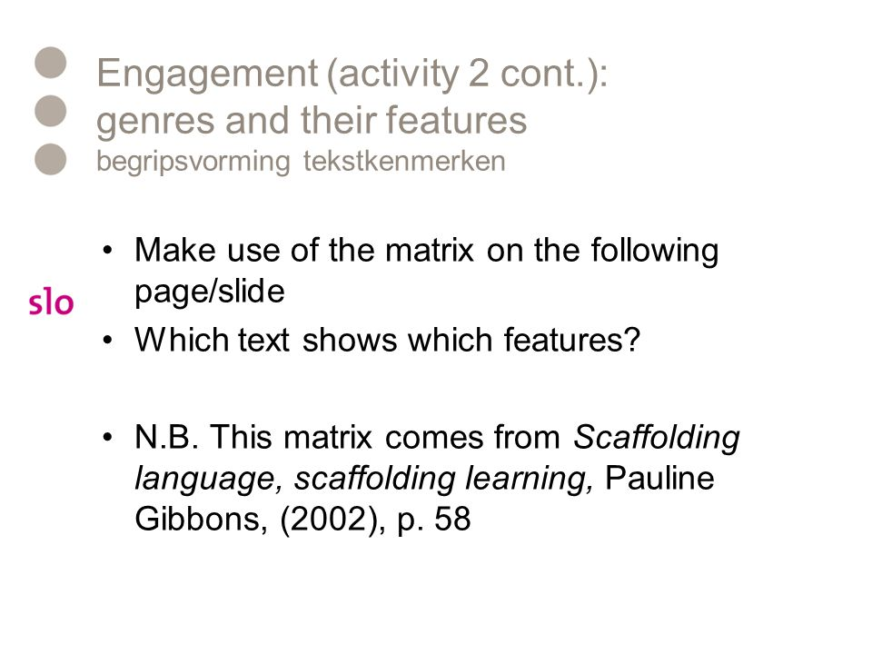 Engagement (activity 2 cont
