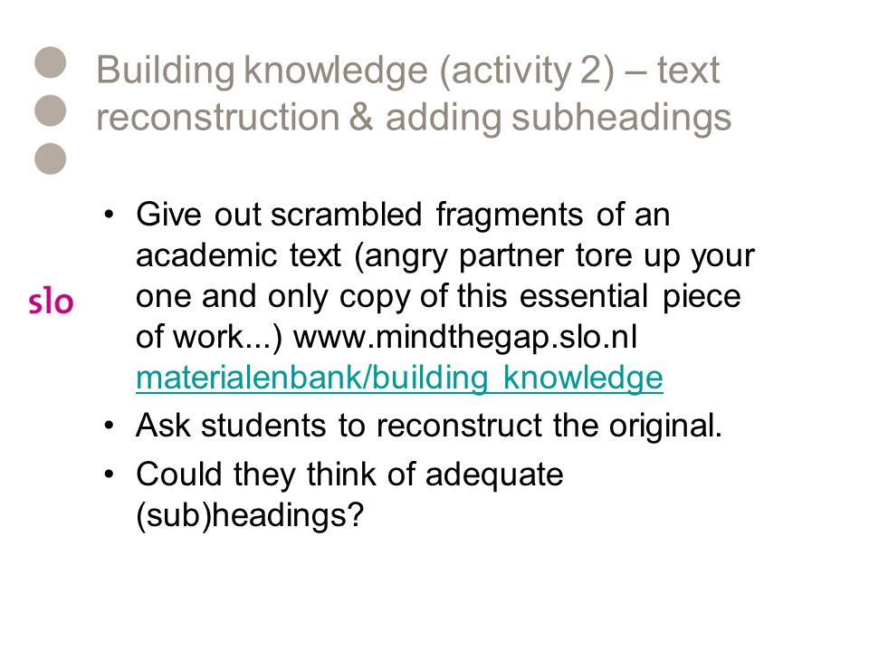 Building knowledge (activity 2) – text reconstruction & adding subheadings