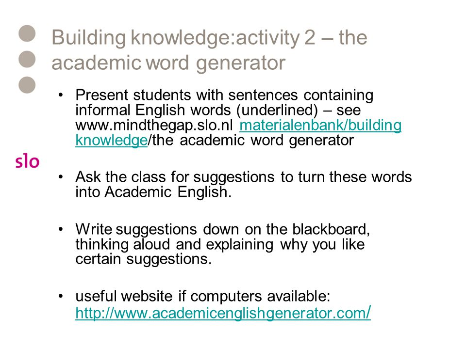 Building knowledge:activity 2 – the academic word generator