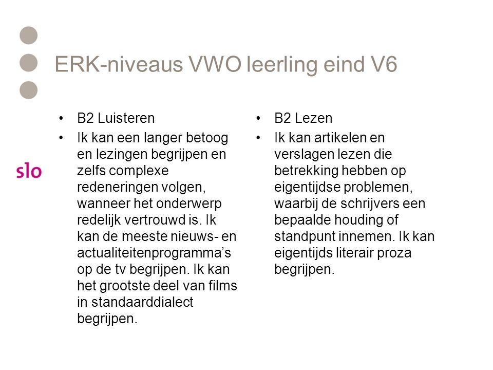 ERK-niveaus VWO leerling eind V6
