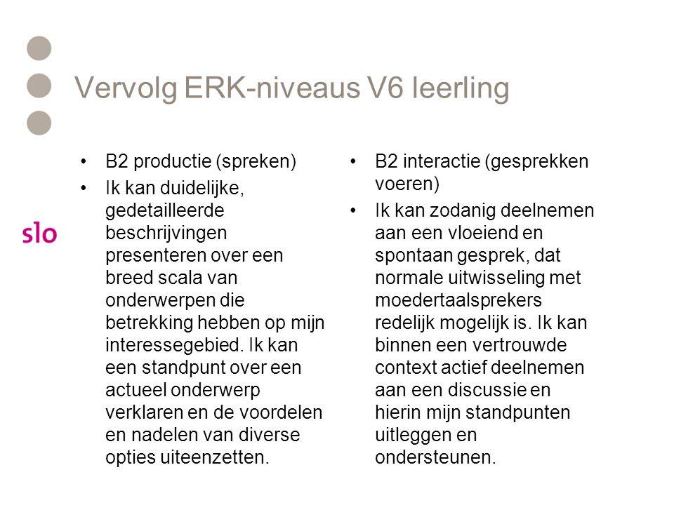 Vervolg ERK-niveaus V6 leerling
