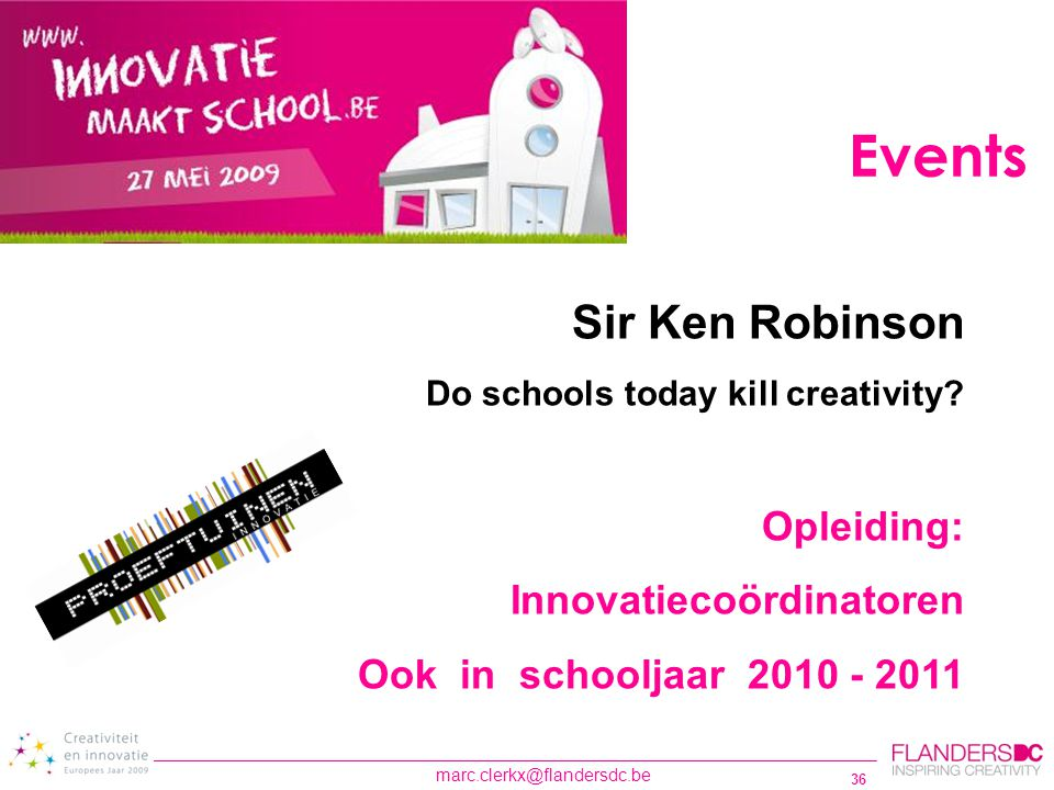 Events Sir Ken Robinson Opleiding: Innovatiecoördinatoren