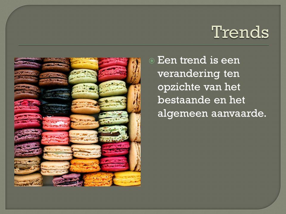 Trends Een trend is een verandering ten opzichte van het bestaande en het algemeen aanvaarde.