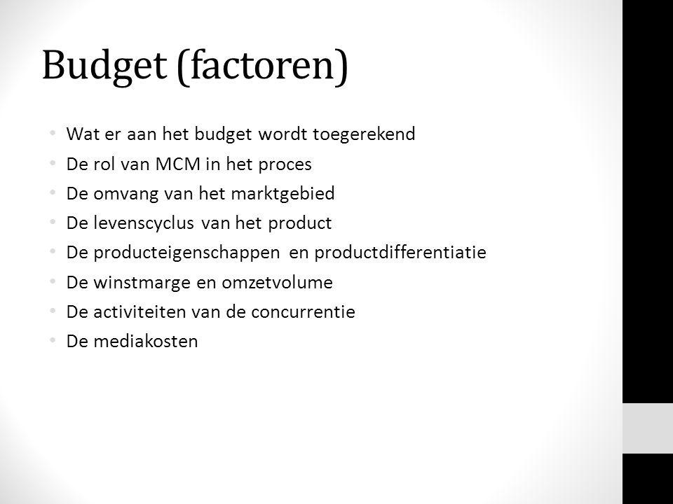 Budget (factoren) Wat er aan het budget wordt toegerekend