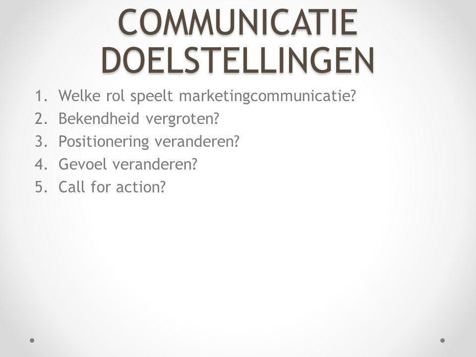 COMMUNICATIE DOELSTELLINGEN