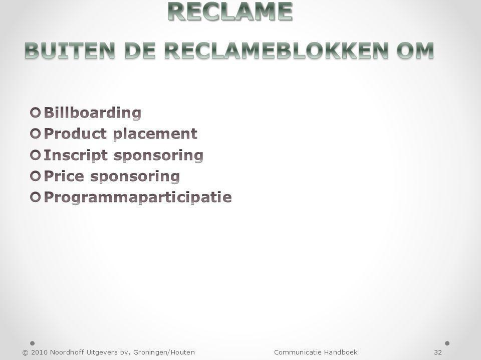 RECLAME BUITEN DE RECLAMEBLOKKEN OM
