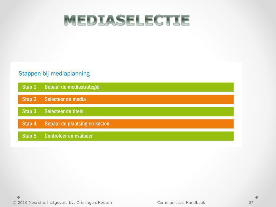 MEDIASELECTIE © 2010 Noordhoff Uitgevers bv, Groningen/Houten Communicatie Handboek 37