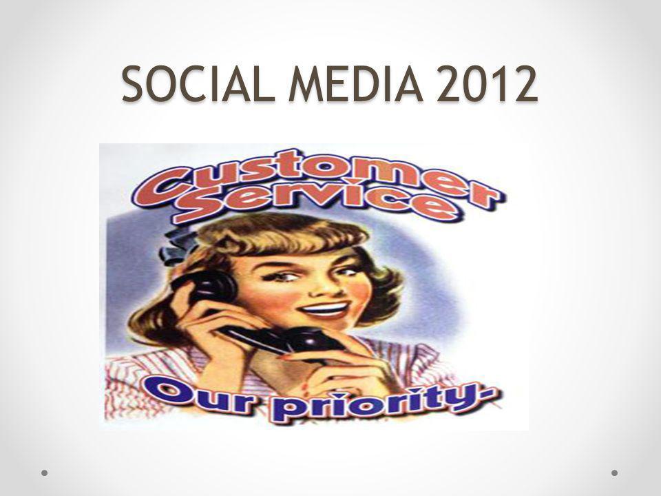 SOCIAL MEDIA 2012 Een goede tool is voor de klantenservice aka webcare van een bedrijf.
