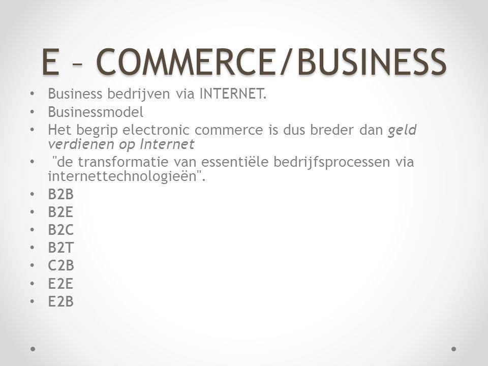 E – COMMERCE/BUSINESS Business bedrijven via INTERNET. Businessmodel